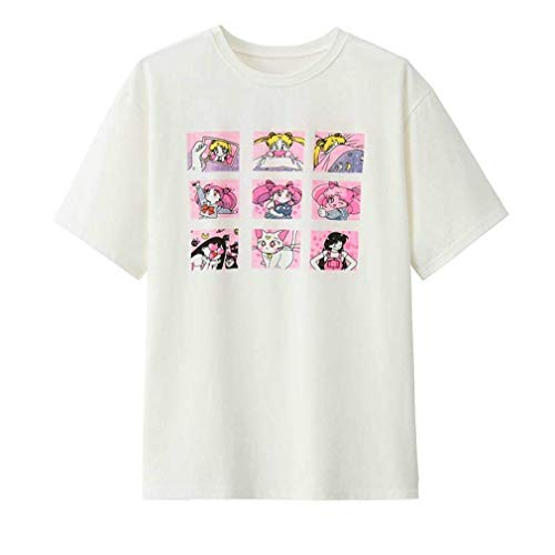 Acccity Japanese Anime Cotton Short Sleeve T-Shirt for Women Girls