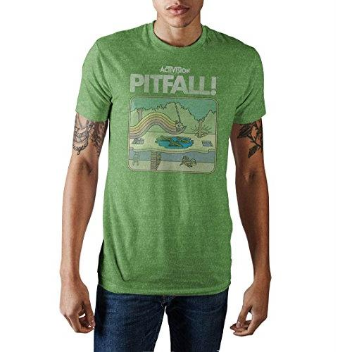 Activision Pitfall Harry Vintage Game Cover Men's Green Heather T-shirt