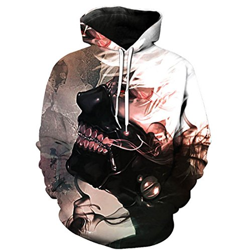 CHENMA Men Tokyo Ghoul 3D Print Pullover Hoodie Sweatshirt with Front Pocket