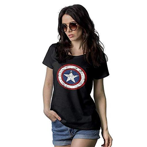 Decrum Womens Black America Shield Shirt - Superhero Graphic Tees for Women