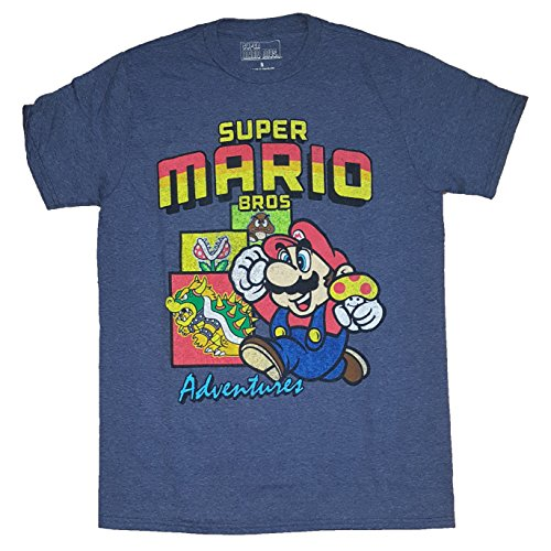 Fashion Super Mario Bros Adventures Blue Graphic T-Shirt