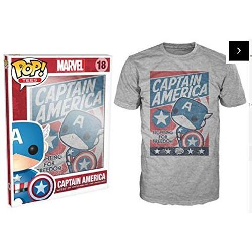 Funko Men's Pop! T-Shirts: Marvel - Cap America Fight For Justice