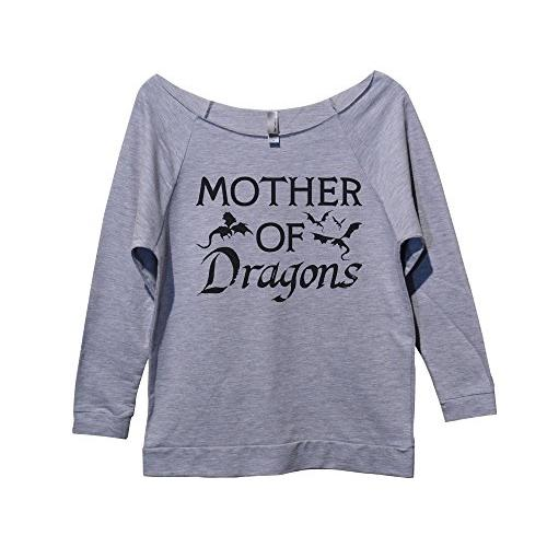 "Womens Raw Edge Game of Throne Sweat Shirt 3/4 Sleeve ""Mother of Dragons"" Style Dolman Neck"