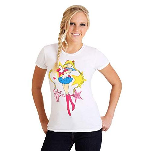 GE Animation Juniors Sailor Moon w/Stars White T-Shirt