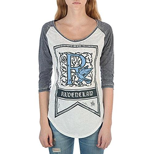 HARRY POTTER Ravenclaw House Crest Flag Juniors 3/4 Sleeve Raglan T-Shirts