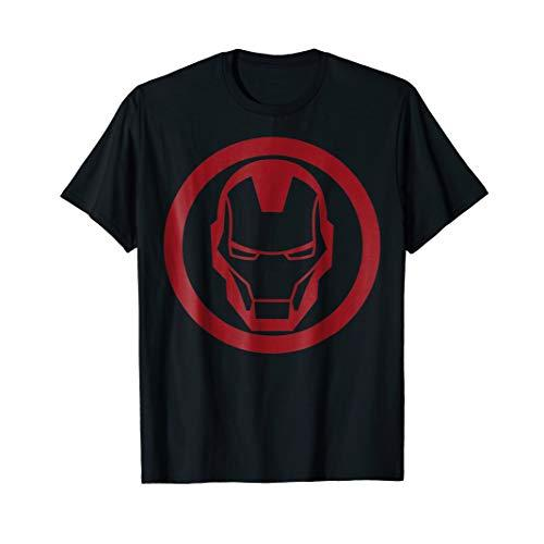 Iron Man Red Dropped Tonal Face Emblem Graphic T-Shirt