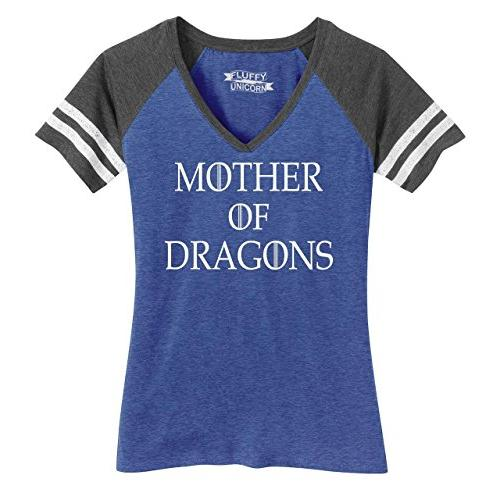 Womens Mother of Dragons T Shirt Thrones TV Show Gamer Game V-Neck Tee