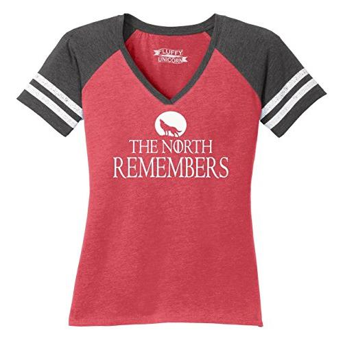 Ladies The North Remembers Tee Gamer Thrones TV Game V-Neck Tee