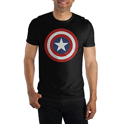 Marvel Comics Captain America Logo Men's Blue T-Shirt Tee Shirt