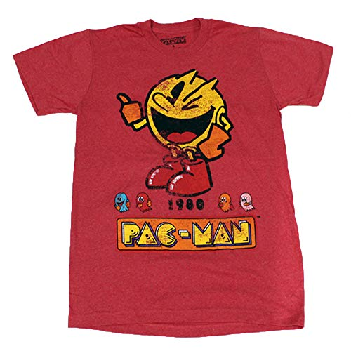 Pac Man 1980 Red Heather Color Men's Licensed T-Shirt (Size Small)