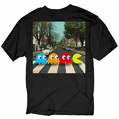 Pac-man Crossing Beatles Abbey Road Black Adult T-Shirt (Adult XXX-Large)