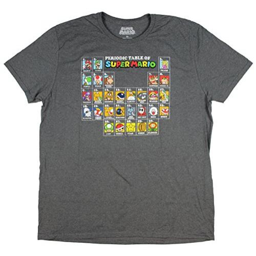 Periodic Table of Super Mario Gray Graphic T-Shirt