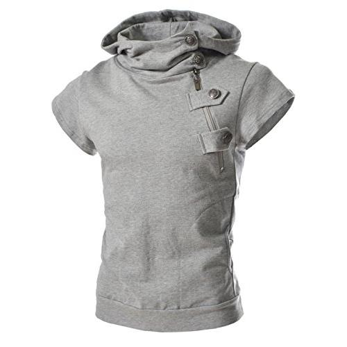 TheLees (4BS Mens Buckle Zipper Slim Hoodie Cotton Solid Short Sleeve T-Shirts