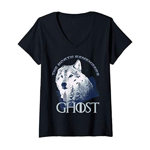 Womens Ghost Lone Wolf in forest game day or winning the throne V-Neck T-Shirt