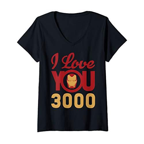 Womens Marvel Avengers Endgame Iron Man I Love You 3000 Helmet Logo V-Neck T-Shirt